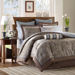 Madison Park Whitman Blue 12-piece Bed in a Bag with Sheet Set -