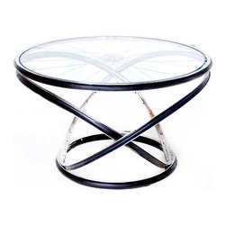 Modulus Side Table - No bicycle enthusiast's home would be complete with out the Modulus side table. It is crafted from bent and welded chrome-plated bicycle rims and topped with glass or acrylic.