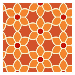 Brewster Home Fashions - Flora Orange Geometric Floral Wallpaper Bolt - A modern mosaic of florals bloom rich detail throughout your space with a red and orange wallpaper design that brings an ooh la la flavor to walls.