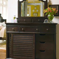 Universal Furniture - Paula Deen The Lady's Dreser with Mirror - Add a touch of vintage chic to your bedroom with the Paula Deen Lady's Dresser and Storage Mirror by Universal Furniture. Large sliding doors conceal 6 tray drawers for easy organization, and the drop front option of the top center drawer allows this dresser to double as a media chest. Coated in the same warm tobacco finish, the storage mirror is a stylish addition. Featuring a beveled edge, a power outlet and an abundant amount of storage, it's no wonder this group is one of Paula's favorites!