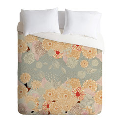 Iveta Abolina Creme De La Creme King Duvet Cover - A bevy of beautiful blossoms adorns this spirited duvet cover. Artist Iveta Abolina's charming design is custom printed on soft, easy-care woven polyester. A hidden zipper makes it easy to remove the cover for cleaning. Crave a little change of pace? Flip it over and the back is solid white.