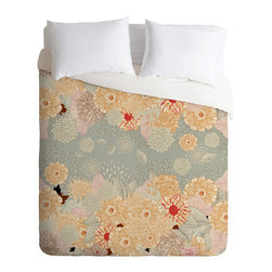 DENY Designs - Iveta Abolina Creme De La Creme King Duvet Cover - A bevy of beautiful blossoms adorns this spirited duvet cover. Artist Iveta Abolina's charming design is custom printed on soft, easy-care woven polyester. A hidden zipper makes it easy to remove the cover for cleaning. Crave a little change of pace? Flip it over and the back is solid white.