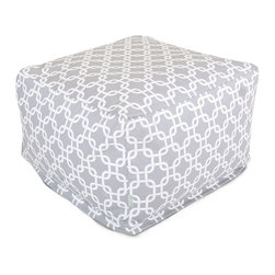 Majestic Home - Outdoor Gray Links Large Ottoman - Roomy and comfy with a fun, modern print, this ottoman could quickly become one of the most coveted items in your house. You'll be pulling it out for an impromptu coffee table on the deck, an extra seat for your kid's buddy on movie night or a cushy footrest for the recliner. The beanbag filling is 50 percent recycled beads and the cover is outdoor-safe and removable for easy cleaning.