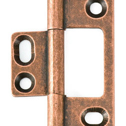 BH2A-NM-OC-BALL solid brass inset cabinet hinge - Cliffside's non-mortising cabinet hinges are available in several styles. Each hinge leaf is made with superior craftsmanship, extruded from a single piece of solid brass for added durability. The decorative barrel of the hinge shows on the outside of the door, which adds a splash of color to your cabinet door. This 2-inch hinge is finished in antiqued Old Copper, one of 15 available colors, and features our ball-tip finial.