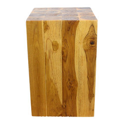 Kammika - Block Hollow Farmed Teak Wood 12x12x18 inch Ht in Eco Friendly Livos Oak Oil Fin - Our Farmed Teak Sustainable Wood Block Hollow 12 inch square x 18 inch height Block Hollow with eco friendly, natural Livos Oak (honey brown) Oil Finish is made to look like a block of squares, but are easily transported, as inside is hollow. On the ends is a collage of tree rings from each branch that is squared to make this visually stunning block of Farmed Teak Wood. This piece can be placed together to form a side or hallway entry table. They can be used in pairs to create a party dining area and then placed back into separate rooms; or can be used in the pool, patio, or garden area. This item also comes in a 12 inch square by 23 inch height size to enjoy indoors or outdoors. Classic lines made with Farmed Teak expose the natural grain of the logs. Eco friendly Livos Oak Oil finish creates a water resistant and food safe finish. The light and dark portions of wood turn to darker shades of brown over time and the alkaline in the oils creates a honey orange color finish. These natural oils are translucent, so the wood grain detail is highlighted. There is no oily feel and cannot bleed into. Hand crafted from a sustainable Thai Farmed Teak wood species, we make minimal use of electric hand sanders in the finishing process. All products are dried in solar and or propane kilns. No chemicals are used in the process, ever. All products finished by hand rubbed oils. We use only certified Green Livos oils. Each eco friendly functional art piece is packaged with cartons from recycled cardboard with no plastic or other fillers. As this is a natural product, the color and grain of your piece of Nature will be unique, and may include small checks or cracks that occur when the wood is dried. Sizes are approximate. Products could have visible marks from tools used, patches from small repairs, knot holes, natural inclusions or holes. There may be various separations or cracks on your piece when it arrives. There may be some slight variation in size, color, texture, and finish.Only listed product included.