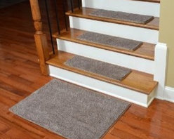 "Dean Flooring Company - Dean Super Soft 50 oz. Plush Carpet Stair Treads - Hudson Tweed (13) & Mat - Dean Premium Super Soft 50 oz. Plush Carpet Stair Treads - Hudson Tweed (13) with 2'x3' Landing Mat : Premium Super Soft 50 oz. Plush Carpet Stair Treads by Dean Flooring Company Color: Hudson Tweed (Beige and Brown) Set includes thirteen stair treads plus one roll of double-sided tape for easy, affordable do-it-yourself installation and a matching 2' x 3' landing mat. Each tread measures approximately 27"" x 9"". Color matching finished edges. Also easy to spot clean and vacuum. Helps prevent slips on your hardwood stairs. Great for helping your dog easily navigate your slippery staircase. Reduces noise. Reduces wear and tear on your hardwood stairs. Attractive: adds a fresh new look to your staircase. Easy DIY installation with double sided carpet tape (included). High quality super soft 50 oz. stain and odor resistant carpeting with antimicrobial protection. Add a touch of warmth and style to your home today with stair treads from Dean Flooring Company!"