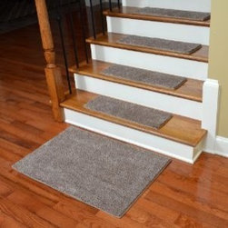 """Dean Flooring Company - Dean Super Soft 50 oz. Plush Carpet Stair Treads - Hudson Tweed (13) & Mat - Dean Premium Super Soft 50 oz. Plush Carpet Stair Treads - Hudson Tweed (13) with 2'x3' Landing Mat : Premium Super Soft 50 oz. Plush Carpet Stair Treads by Dean Flooring Company Color: Hudson Tweed (Beige and Brown) Set includes thirteen stair treads plus one roll of double-sided tape for easy, affordable do-it-yourself installation and a matching 2' x 3' landing mat. Each tread measures approximately 27"""" x 9"""". Color matching finished edges. Also easy to spot clean and vacuum. Helps prevent slips on your hardwood stairs. Great for helping your dog easily navigate your slippery staircase. Reduces noise. Reduces wear and tear on your hardwood stairs. Attractive: adds a fresh new look to your staircase. Easy DIY installation with double sided carpet tape (included). High quality super soft 50 oz. stain and odor resistant carpeting with antimicrobial protection. Add a touch of warmth and style to your home today with stair treads from Dean Flooring Company!"""