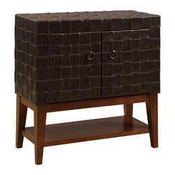 Coaster - Accent Cabinet, Coffee - This unique accent cabinet features a woven leather-like vinyl exterior giving this piece a nice texture, with two ring pulls revealing cabinet space. Below is an exposed wood base with a storage shelf.