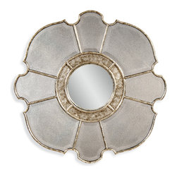 Bassett Mirror - Nevis Wall Mirror - Featuring a round convex center and antique mirror finish, the Nevis Wall Mirror is an ideal complement to transitional decor. Its cut shape and gold accents give the mirror an upscale, vintage feel. Hang it on its own or pair it with neutral artwork for a dynamic look.