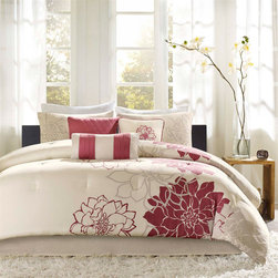 Madison Park - Lola Comforter Set - Lola is the perfect solution to an updated, modern print look. This comforter collection features an overscaled floral print design printed on 100% cotton fabric for a super soft hand feel. Features: -Set includes 1 comforter, 2 shams, bedskirt and 3 decorative pillows. -Lola collection. -Material: 100% Cotton sateen. -Fill: Poly. -Overscaled floral print design for a super soft hand feel. -Decorative pillows embroidery and piecing details.