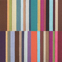 Parallel Reality SP12PW FLORug Carpet Tile Rug Set - Embrace color with this striking runner using a mix of Parallel Reality™ in five, bold colors:  Purple, Pink, Teal, Burgundy and Green. The set includes one square of each color and lets you build a rug of any size by simply adding two or more sets together. FLOR tiles measure 50cm square and connect together using patented FLORdot adhesives — sturdy, one-sided, non-toxic adhesives that connect to the bottom of each square and not to the floor surface.