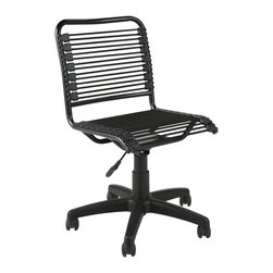 Apt2B - Charleville Office Chair Black/Graphite - What's the most comfortable shape for an office chair? How about one that molds to fit your own shape? Extra strong bungee cord loops are the secret: They stretch around you and help distribute your weight. They also give you plenty of air flow for hot days. A gas lift adjusts the chair to your height, and the seat curves at the end to allow for proper leg circulation. The chair swivels and even comes in fun colors.