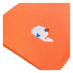 """Blancho Bedding - White Whale - Orange Applique Coral Fleece Baby Throw Blanket  29.5""""-39.4"""" - The Embroidered Applique Coral Fleece Baby Kids Throw Blanket measures 29.5 by 39.4 inches. Whether you are adding the final touch to your bedroom or rec-room, these patterns will add a little whimsy to your decor. Machine wash and tumble dry for easy care. Will look and feel as good as new after multiple washings! This blanket adds a decorative touch to your decor at an exceptional value. Comfort, warmth and stylish designs. This throw blanket will make a fun additional to any room and are beautiful draped over a sofa, chair, bottom of your bed and handy to grab and snuggle up in when there is a chill in the air. They are the perfect gift for any occasion! Available in a choice of whimsical kid-friendly prints to spark the imagination, the blanket is durable enough to look great on the go."""