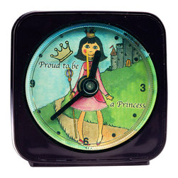Proud to be a Princess Alarm Clock - Our alarm clocks can't help but make you smile. Made from an original painting, each clock is 2.25'' square with a round face. On our Princess Alarm Clock, the little gold crown floats magically around the edge of the clock as it counts the seconds. What a great gift for any little princess! Each alarm clock comes in a gift box and includes a free battery. Made in the USA. (Be sure to look for our Princess wall clock and night light, too!)