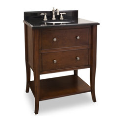 "Hardware Resources - 28-1/2"" Solid Wood Vanity  VAN080-T - This 28-1/2"" solid wood vanity has a rich chocolate brown finish to give this vanity an updated feel. This vanity features elegant tapered cabriole legs and rolled edge details for a more feminine look. Two fully working drawers, fitted around the plumbing, and open bottom shelf gives this vanity ample storage.  This vanity has a 2.5CM black granite top preassembled with an H8809WH (15"" x 12"") bowl, cut for 8"" faucet spread, and corresponding 2CM x 4"" tall backsplash.  Overall Measurements: 28-1/2"" x 22-1/4"" x 36"" (measurements taken from the widest point) Finish: Chocolate Material: Wood Style: Traditional Coordinating Mirror(s): MIR080, MIR081 Bowl: H8809WH"