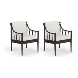 Frontgate - Sorrento Set of Two Dining Outdoor Arm Chairs with Cushions - Tuscan-inspired fine furniture design. Hand-detailed frame cast in 100% ingot aluminum. Rust-resistant powdercoated frame. Hand-filed welds. Rich multilayered java finish with UV protected top coat. The generous scale and inviting silhouette of our Sorrento Dining Arm Chair evoke the relaxed warmth of Tuscany. The elegant frame is hand-built from sturdy aluminum with solidly cast, fine furniture details. Thick seat and back cushions surround you in total comfort. Part of the Sorrento Collection.. Hand-detailed frame cast in 100% ingot aluminum. . . . Cushions included. 100% solution-dyed and woven fabrics. All-weather cushions have a high-density foam core.