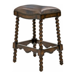 Ambella Home - Coventry Barstool - Dark Leather - Twisted legs, an ornate carved frame and luxurious leather seat create a one-of-a-kind seat in your home. In your kitchen or game room, this comfortable bar stool invites your guests to take a seat and get in on the action.