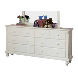 Homelegance - Homelegance Pottery 66 Inch Dresser in White - White sand-through cottage collection makes for a great retreat look. This old-world charm collection is styled for today's buyer.