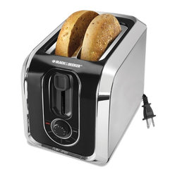 Applica - Black and Decker 2-Slice Toaster - Electronic toast controls. Bagel frozen reheat and cancel functions with extra wide slots. Self adjusting guides and auto eject crumb tray. Backlit function selectors and extra lift toast feature. Retractable cord. Stainless steel and black design. Voltage: 850 watts. Warranty: Two years limitedEnjoy toasting versatility at the touch of a button! Toast all types of breads or favorite waffles and pastries right out of the freezer with easy-to-use controls. Select the Bagel Mode to toast your favorite bagels golden brown on the cut side and deliciously warm on the outside.