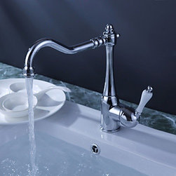 Kitchen Sink Faucets - Chrome Finish Single Handle Brass Kitchen Faucet (White Handle)--FaucetSuperDeal.com