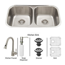Vigo Industries - All in One 32 in. Undermount Stainless Steel Kitchen Sink, Faucet Set - Breathe new life into your kitchen with a VIGO All in One Kitchen Set featuring a 32 in. Undermount kitchen sink, faucet, soap dispenser, matching bottom grids, and strainers. The VGR3218BL double bowl sink is manufactured with 18 gauge premium 304 Series stainless steel construction with commercial grade premium satin finish. Fully undercoated and padded with a unique multi layer sound eliminating technology, which also prevents condensation. All VIGO kitchen sinks are warranted against rust. Required interior cabinet space: 35 in. Kitchen sink is cUPC and NSF-61 certified by IAPMO. All mounting hardware and cutout template provided for 1/8 in. reveal or flush installation. The VG02013ST kitchen faucet features a dual function Pull-Out spray head for aerated flow or powerful spray, and is made of solid brass with a stainless steel finish. Includes a spray face that resists mineral buildup and is easy-to-clean. High-Quality ceramic disc cartridge. Retractable 360-Degree swivel spout expandable up to 30 in. Single lever water and temperature control. All mounting hardware and hot/cold waterlines are included. Water pressure tested for industry standard, 2. 2 GPM Flow Rate. Standard US plumbing 3/8 in. connections. Faucet height: 16 in. Spout reach: 8 3/4 in. Kitchen faucet is cUPC, NSF-61, and AB1953 certified by IAPMO. Faucet is ADA Compliant. 2-hole installation with soap dispenser. Soap dispenser is constructed of solid brass with an elegant stainless steel finish and fits 1 1/2 in. opening with a 3 1/2 in. spout projection. Matching bottom grids are Chrome-Plated stainless steel with vinyl feet and protective bumpers. Sink strainers are made of durable solid brass in chrome finish. All VIGO kitchen sinks and faucets have a Limited Lifetime Warranty.