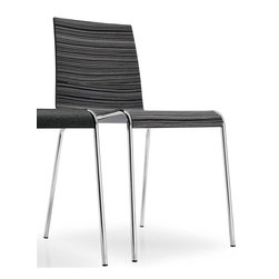 Calligaris - Online Minimalist Chair (Set of 2) (Chromed) - Finish: ChromedTuxedo finish seat. Pictured in Chrome. Modern minimalist design, suitable for living areas or kitchens. Made from a single curved plywood sheet. Elegant frame features 4 slender yet sturdy metal legs. Stackable up to 6 chairs high. Matches all styles of interior, whether classic or modern. Assembly required. Seat height: 17.75 in. H. 20.5 in. W x 18.5 in. D x 31.5 in. H