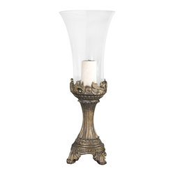 Uttermost Rococo Golden Hurricane Candleholder - Gray patina with golden highlights and clear glass globe. Beige candle included. Gray patina with golden highlights and clear glass globe. Beige candle included.