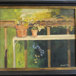 Susan Cox Signed Painting Custom Framed Potted Garden - Signed susan cox painting,
