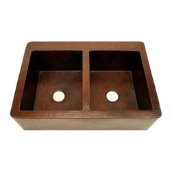 """SoLuna - 36"""" Copper Farmhouse Sink - 50/50 Double Well Farmhouse Copper Sink - Outside Dimension = 36""""x 22""""x 9"""", Inside Dimension (Per Well) = 15""""x 18""""x 9""""  with Two 3.5"""" Drain Openings. The large double well 50/50 split copper farmhouse sink, will add the perfect element of functionality and style to any kitchen renovation. All of our kitchen sinks are hand-hammered in 14 gauge, lead-free copper by 3rd generation coppersmiths. Our 14 gauge copper is the thickest copper available on the market—you don't need to worry about a metallic drumming sound as water flows into your sink. Our sinks are TIG copper welded. Farmhouse copper sinks are also referred to as copper farm sinks or copper apron sinks."""