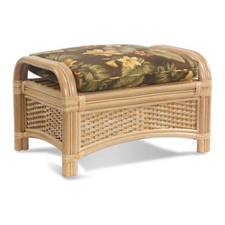 WickerParadise - Rattan Ottoman | Tropical Breeze - For laid-back living at its best, add this ottoman to your favorite casual setting. It's quality crafted of wicker, sea grass and rattan with a plump tropical print cushion — a versatile piece that serves as a table, footrest or seat.
