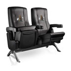 Dreamseat Inc. - Bear - Standing Row One VIP Theater Seat - Quad - Please note: This item is the 4-seat version. We apologize that we do not have photos of 4 together. Check out these fantastic home theater chairs. These are the same seats that are in the owner's VIP luxury boxes at the big stadiums. It has a rocker back and padded seat, so it's unbelievably comfortable - once you're in it, you won't want to get up. Features a zip-in-zip-out logo panel embroidered with 70,000 stitches. Converts from a solid color to custom-logo furniture in seconds - perfect for a shared or multi-purpose room. Root for several teams? Simply swap the panels out when the seasons change. This is a true statement piece that is perfect for your Man Cave, Game Room, basement or garage.