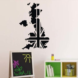 ColorfulHall Co., LTD - Map Wall Decals Country Uk Map With Flag - You will find hundreds of affordable peel - and - stick wall decal designs, suitable for all kinds of tastes and every room in your house, including a children's movie theme, characters, sports, romantic, and home decor designs from country to urban chic. Different from traditional decals, vinyl wall decals is with low adhesive that allows you to reposition as often as you like without damaging the paint. Application is easy: peel offer the pre-cut elements on the design with a transfer film, and then apply it to your wall. Brighten your walls and add flair to your room is just as easy.