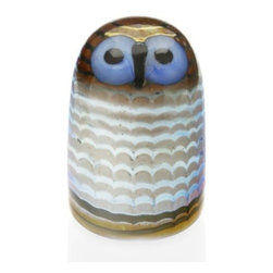 Iittala - Toikka Bird - Owlet by Iittala - Owls in the wild generally don't have blue eyes. In this regard, the Iittala Toikka Bird - Owlet improves on nature. With soft waves and colors suggesting a baby owl's downy plumage, the Owlet adds to the overall sense of preciousness with big blue eyes. Its distinctive personality is ensured by the individual mouth blowing of each piece. From humble beginnings as a small glass factory, today Iittala offers a wide variety of modern Scandinavian housewares that demonstrate the company's commitment to design quality and product longevity. Based in Helsinki, Finland, Iittala continues to make cookware, tableware and other home accessories that are both lovely and useful, based primarily on the forward-thinking philosophies of design icons Kaj Franck and Alvar Aalto.