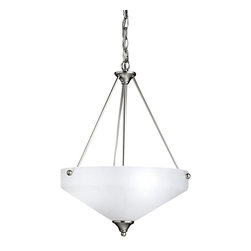 BUILDER - BUILDER Ansonia Contemporary Inverted Pendant Light X-IN7433 - From the Ansonia Collection, a Brushed Nickel finish highlights the crisp lines and traditional influencing give this Kichler Lighting inverted pendant light a modern look. The satin etched glass shade features a hint of traditional influencing for a unique look.