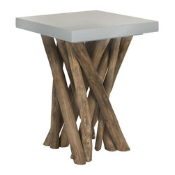 Hunter Teak Table - Reclaimed teak branches hold up a modern slate colored seat of the Hunter Teak Table. This piece represents the happy union of style and function, so you can appreciate nature without the splinters.