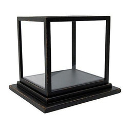 """Used Custom Made Glass Specimen Case - A pine and glass display or specimen box in a hand distressed black finish. The glass box is removable from the base for access. Used in Victorian times for still life displays, collections, or taxidermy. The base measures 12"""" X 14"""" and 2"""" tall. The glass box lid measures 11.25"""" X 9.25"""" and 10.5"""" tall.     We have a total of 5 available. Please contact support@chairish.com to purchase more than one. These would be perfect for displaying a collection of treasures in a home or retail environment."""
