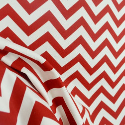 Zig Zag Lipstick Red Chevron Drapery Pillow Fabric - Red and white zig zag chevron print fabric.  Very cute, printed on a sturdy cotton base cloth.  Great for your home projects such as pillows, window valances, curtains or bedding.  Also, would be great for duffle bags, a purse or other crafty projects!  This premier print design comes in a number of other coloways, contact us for other options.  This red and white chevron fabric would be very cute in girls or boys room on a headboard or cornice boards for the windows. The zig zag design would be great as an accent in a room or as the main focus of the room.  Pair with florals and solids for a designer look.