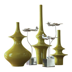Global Views - Minaret Vase - Small - Minaret vases have a slightly pearlescent green glaze. The Shapes are based off of Asian finials that are fun accent pieces on their own.