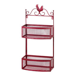 Gifts Galore - Red Roster double Wall Rack - This fantastic wall-mounted double rack creates convenient storage and a pretty display for any room of your home!  It features two metal mesh baskets topped with a decorative rooster cutout and all finished in country red.