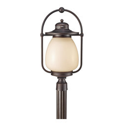 Murray Feiss - Murray Feiss OLPL7508GBZ Mc Coy 23 High 1 Light Fluorescent Outdoor Post Lantern - As its name suggests the Dockyard outdoor lighting collection is nautically inspired.  The details of the Oil Can finish on the hardware and cage design, along with the decorative ripple in the White Opal Etched glass shade all hark back to the light fixtures seen in harbors and lighthouses of yesterday.