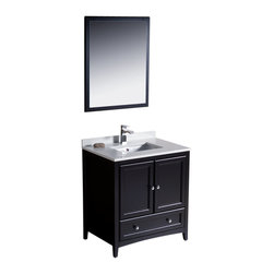 "Fresca - Oxford 30"" Espresso Traditional Vanity Fiora Chrome Faucet - Blending clean lines with classic wood, the Fresca Oxford Traditional Bathroom Vanity is a must-have for modern and traditional bathrooms alike.  The vanity frame itself features solid wood in a stunning espresso finish that?s sure to stand out in any bathroom and match all interiors.   Available in many different finishes and configurations."
