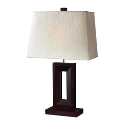 One Light Mahogany Finish Flax Linen Shade Table Lamp - This One Light Table Lamp is part of the Portable Lamps Collection and has a Mahogany Finish Finish and a Flax Linen Shade.  It is Dry Rated.