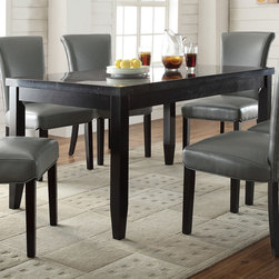 Coaster - Newbridge Dining Table, Deep Cappuccino - The table carries a deep cappuccino finish and features tapered legs as well as a faux marble top. Accompanied are six matching side chairs. Upholstered in a neutral metal or a neutral taupe tone, both the seat and seat back foster total comfort. The chair is lifted on tapered legs finished in a dark cappuccino, and the seat back curves gently outward for a sense of shape and movement.