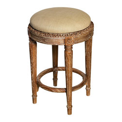 Isabelle Counter Stool - Grey Wash - A splendidly-detailed, backless seating option for the timeless kitchen, dining room, or studio, the Isabelle Counter Stool is crafted from mahogany which has been expertly carved with the favorite decorative patterns of previous centuries' furnishing masters. Saving space while looking elegant when chosen as a dining seat that slides under a counter-height table, the Isabelle design also looks lovely on the patio or in the eclectic bedroom.