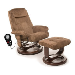 """Comfort Products - Leisure Faux Suede Reclining Heated Massage Chair with Ottoman - Features: -Thick, padded faux-suede upholstery, wood base.-Swivel, recline and recline tension.-9 Pre-programmed massage modes and 5 intensity levels.-Soothing heat treatment in the lumbar area.-Upholstery Color: Chocolate Brown.-Finish: Chocolate Brown.-Distressed: No.-Upholstery Material: Polyester.-Frame Material: Steel.-Hardware Material: Steel.-Number of Items Included: Includes 2 items: chair and ottoman.-Non-Toxic: Yes.-Scratch Resistant: No.-Stain Resistant: No.-Fire Resistant: No.-Mildew Resistant: No.-Fade Resistant: No.-Tear Resistant: No.-Glider: No.-Swivel: Yes.-Zero Gravity Design: No.-Reclines: Yes -Recline Type: Manual.-Required Back Clearance to Recline: Requires 13"""".-Recline Angle : Maximum Angle: 135 Degrees..-Cushion Fill Material: Foam Fill.-Seat Comfort: Medium.-Removable Seat Cushions: No.-Removable Back Cushions: No.-Removable Upholstery Cover: No.-Removable Massage Softening Pad: No.-Ottoman Included: Yes.-Cupholders: No.-Massage Types: Vibration massage.-Music Synchronized Massage: No.-Calf Massage: Yes.-Foot Massage: No.-Heat Function: Yes.-Number of Pre-Programmed Massages: 9.-Program Memorization: No.-Vibration: Yes -Vibrating Seat: Yes.-Number of Vibration Motors: 8.-Adjustable Speed: No.-Adjustable Intensity: Yes.-Number of Intensity Settings: 5..-Adjustable Width: No.-Adjustable Foot Rest: No.-Adjustable Headrest: No.-Massage Rollers: No.-Body Scanning: No.-Air Pressure System: No.-Built In Control Panel: No.-Remote Control: Yes.-LCD Control: No.-Programmable Timer: Yes.-Automatic Shut Off: Automatic shut off after 30 minutes.-Built In Music Player: No.-Headphones Included: No.-USB Flash Memory Stick Included: No.-Operating Voltage: AC 120V 60HZ.-Weight Capacity: 250 lbs.-Swatch Available: No.-Commercial Use: No.-Recycled Content: No.Specifications: -8 Vibration motors massage the back, thighs and calves.Dimensions: -Overall Height - Top to Bottom (Ove"""