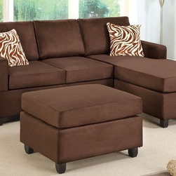Chocolate Microfiber Sectional Sofa with Reversible Chaise Ottoman - Set Includes 1 Chaise Lounge chair and 1 2-seat Sofa with 1 Cocktail Ottoman