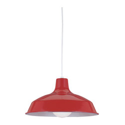 Sea Gull Lighting - Sea Gull Lighting 6519 Shaded Pendant - Sea Gull Lighting 6519-21 Red Shaded Pendant