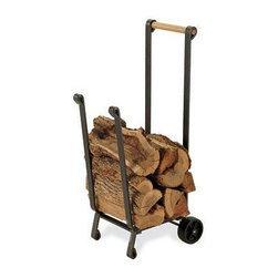 Pilgrim Home & Hearth - Pilgrim Forged Iron Wood Cart - Pilgrim Forged Iron wood cart with non-marring wheels.  Vintage Iron frame with wood handle.  Idea for transporting wood from the yard to the deck.  Heavy duty design.  Pilgrim Lifetime Warranty.