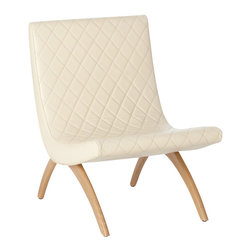 Arteriors - Danforth Chair, Ivory - Comfort has never looked this cool! Sit back and relax — in your living room, den or well-appointed man cave — against the luxury of diamond quilted top grain leather and slim yet sturdy wooden legs.