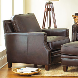 Steve Silver Furniture - Steve Silver Caldwell Chair in Walnut Leather - Made of 100% leather  the Caldwell chair will bring an inviting feel to your space. The chair features tooled leather accents on the seat and back cushions. The foam seating is a 2.0HR with pocketed coils for added comfort. The arms on the collection pieces feature nail head accents along with a unique cut. A Santa Maria Walnut color is the leather and adds for a warmth and masculine collection.